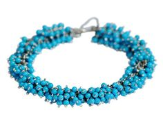 Me & Ro Sterling Silver All Bead Sleeping Beauty Turquoise Chain Bracelet