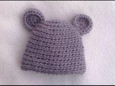VERY EASY pretty crochet baby hat - shell stitch baby hat tutorial - YouTube