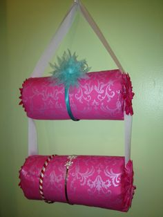 Headband holder. Pool noodles, fabric and ribbon. @Tara Sandel