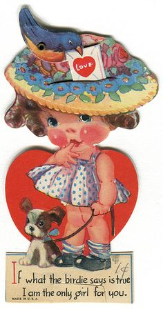 """If what the birdie says is true…"" vintage Valentine with mechanical bird, shared by Karen Horton via Flickr."