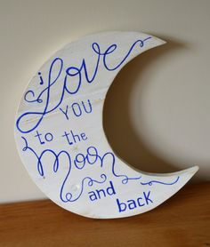 Wooden Crescent Moon Sign by DuckandLionFurniture on Etsy