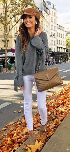 #fall #outfits women's gray crew-neck long-sleeve top, white leggings, gray ankle boots outfit