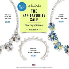 Fabulous FLASH SALE at Stella & Dot (through tonight only)!  Gorgeous Fan Faves for as much as 50% OFF!