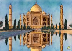 Watercolor Painting of Taj Mahal