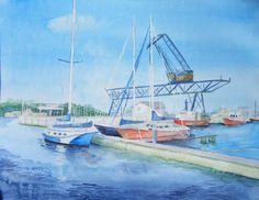 Haedgehalbinsel 1 (c) Aquarell von FRank Koebsch Hanse Sail, Baltic Sea, Watercolor Artists, Sailing Ships, Westerns, The Good Place, Nautical, Watercolors, Drawings