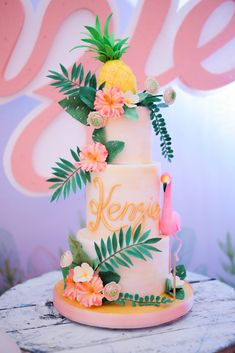 Flamingo Cake The cutest pink flamingo party was thrown for the cutest baby in town, Kenzie! After seeing what Happy Folks Studio sent us from this birthday bash, my day instantly took a turn for the best! Bolos Pool Party, Pool Party Cakes, Luau Cakes, Beach Cakes, Cake Party, Pink Flamingo Party, Flamingo Cake, Flamingo Birthday, 30th Birthday
