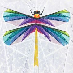 Gossamer Wings paper piecing pattern - This paper piecing pattern is great for mini quilts, or for incorporating into a bigger quilt! Hand Quilting Patterns, Paper Pieced Quilt Patterns, Barn Quilt Patterns, Patchwork Patterns, Quilting Ideas, Paper Quilt, Bird Quilt, Cat Quilt, Animal Quilts
