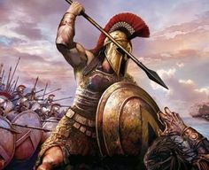 m Barbarian Med Armor Shield Helm Spear Battle eastern border Royal Army Hoplite Spartan Warrior Greek med Spartan Warrior, Viking Warrior, Greek Warrior, Fantasy Warrior, Greek History, Ancient History, Ancient Rome, Ancient Greece, Gods Of War
