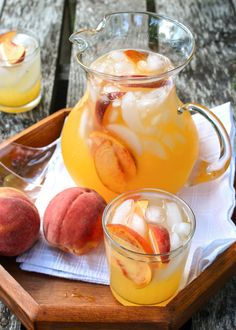 Recipe:  Sparkling Spiked Peach Lemonade  — The 10-Minute Happy Hour (I used half the simple syrup and thought it was plenty sweet.)
