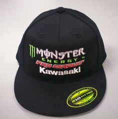 New Mens Black 210 Fitted 7 Monster Energy Pro Circuit Kawasaki Hat c09b7fd2edde