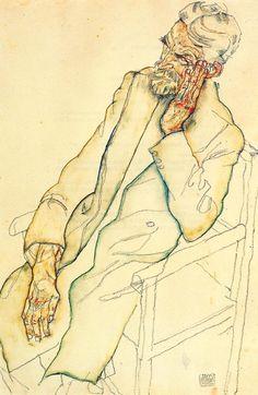 Portrait of Johann Harms via Egon Schiele Medium: watercolor on paper