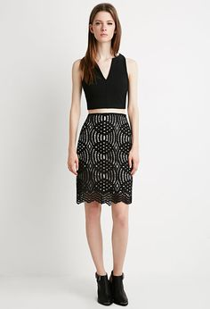 Crochet Lace Pencil Skirt | Forever 21 - 2000154825