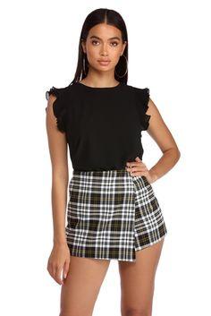 eccd547fc She's Got Class Blouse Skater Skirt, Ruffles, Mini Skirts, Blouse, Sleeves,