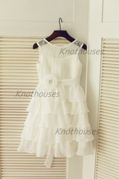 Chiffon Lace Cupcake Flower Girl Dress Flower Sash Junior Bridesmaid Dress Toddler Kids Dress for Wedding by knothouses on Etsy https://www.etsy.com/listing/207477939/chiffon-lace-cupcake-flower-girl-dress