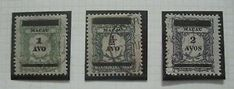 a portugal macau rare stamp 1910 postage due stamps overprinted set used