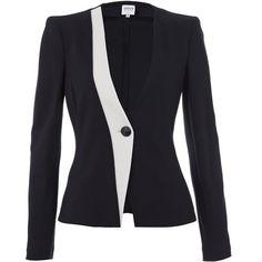 Armani Collezioni Jersey Jacket ($315) ❤ liked on Polyvore featuring outerwear, jackets, armani, coats, blazers, coats & jackets, blazers jersey, blue blazer jacket, blue jackets and blazer jacket