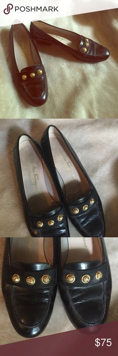 "✨Vintage Salvatore Ferragamo shoes✨ A beautiful pair of vintage Salvatore Ferragamo shoes. Pure vintage ""Movie-Star"" class⭐️Black leather upper with gold studs (no discoloration)   Made in Italy. Inside of shoe states size 8. About a 3/4"" heel on back. Still have lots of wear. These fit a 7.5, perfectly. Salvatore Ferragamo Shoes Flats & Loafers"