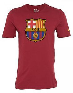 Nike FC Barcelona Core Crest Tee Mens 689390-618 Red Graphic T-Shirt Size 0374c8ac50a04