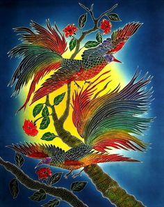 Decorative Indonesian batik painting for wall hanging, Cendrawasih birds Batik Art, Confidence, Fabrics, Wall Decor, Birds, Store, Craft, Cotton, Painting