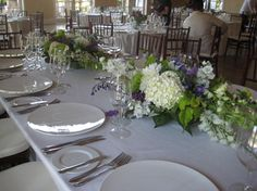 White Wedding Table Ideas with flower centerpieces