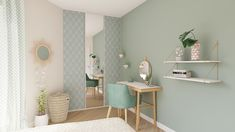 All our ideas for fitting out an office area in a small space How about going green in your room? Here, a pretty office area has been fitted out by our interior designers in a Scandi. Home Decor Bedroom, Decor, Small Spaces, Master Bedroom Design, Living Room Color, Room Makeover, Room, Home Deco, Deco