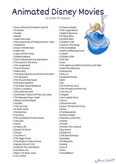 List of Disney animated movies Snow White and the Seven Dwarfs Pinocchio Dumbo Bambi Cinderella Alice in Wonderland Peter Pan The Little Mermaid Beauty and the Beast Aladdin The Lion King Toy Story and so many more Disney animated movies! Movie To Watch List, Disney Movies To Watch, Movie List, Best Disney Pixar Movies, List Of Movies, Dreamworks Movies List, Classic Disney Movies, Disney Songs, Pinocchio