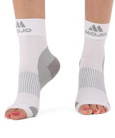 White Open-Toe Plantar Fasciitis Compression Socks - Unisex