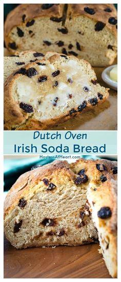 Dutch Oven Irish Soda Bread with Cherries - Comfort Food - Homemade Bread Dutch Oven Bread, Dutch Oven Cooking, Dutch Oven Recipes, Bread Recipes, Pastries Recipes, Dutch Food, Meatloaf Recipes, Pizza Recipes, Irish Desserts