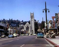 Looking north on Highland Avenue from Hollywood Boulevard toward the Hollywood United Methodist Church (ca. 1959). Today, the Dolby Theater complex and the Lowe's Hollywood Hotel are on the left (west) side of the street.