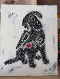 DIY String Art Kit - DIY Kit - DIY Project - String Art Dog - Puppy Love - Puppy Silhouette - Distressed painted board. Find out more about this cute and adorable puppy love string art kit at String of the Art's Etsy shop!