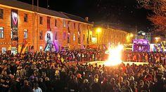 Festival of Voices bonfire night, Salamanca Place, Hobart, Tasmania.