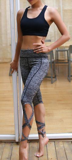 Women's Bandage Skinny Sports Yoga Running Cropped Pants