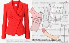 Portuguese site with illustration for altering a standard jacket pattern to create this lovely jacket ~ Molds Fashion for Measure Diy Clothing, Sewing Clothes, Clothing Patterns, Dress Patterns, Sewing Patterns, Print Patterns, Blazer Pattern, Jacket Pattern, Fashion Sewing