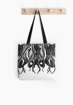 Octopus, black and white tentacle monster 1 by cool-shirts  Also Available as T-Shirts & Hoodies, Men's Apparels, Women's Apparels, Stickers, iPhone Cases, Samsung Galaxy Cases, Posters, Home Decors, Tote Bags, Pouches, Prints, Cards, Mini Skirts, Scarves, iPad Cases, Laptop Skins, Drawstring Bags, Laptop Sleeves, and Stationeries #style #fashion #clothing #clothes #girls