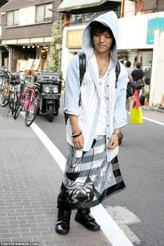 Japanese Guy in Skirt and Hood. I think guys who wear skirts are awesome!