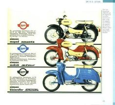 on ⛽ ⚙ ⁂ - Motorrad Simson Moped, Custom Moped, Honda Cub, Motorcycle Posters, Scooter Motorcycle, Cafe Bike, Motor Scooters, East Germany, Old Bikes