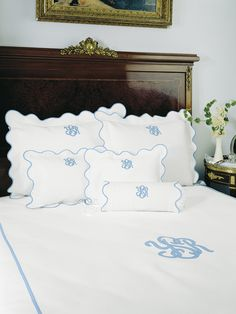 Cambridge - Fine Bed Linens - Fresh White pique is scalloped and piped in soft tones to complement any well dressed bed