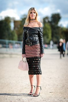 Lala Rudge is seen outside the Elie Saab show during Paris Fashion Week Spring Summer 2017 at the Tuileries garden on October 1 2016 in Paris France