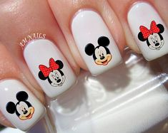 Mickey And Minnie Mouse nail decals, very pretty, bright stickers with unique designs. ———————————————————————————————- ♡ Buy any 3 sets of nail art from my listings at the same time ♡ ♡ & I will add a set of my choice free♡ ♡ Thats Minnie Mouse Nail Art, Mickey Nails, Disney Christmas Nails, Christmas Nail Designs, Shellac, Gel Nails, Acrylic Nails, Marble Nails, Stiletto Nails