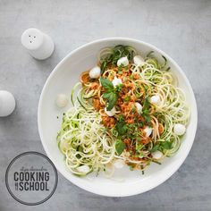 Here's the perfect starter recipe to get you going on the zoodle train! A fantastic homemade pesto is a great way to get into vegetable noodles, as it's so full of flavour and texture, making it a perfect accompaniment to the slightly crunchy and subtle-tasting zoodles. This recipe is a staff favour