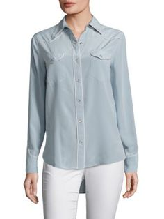 RAG & BONE Jesse Piped Silk Blouse. #ragbone #cloth #blouse