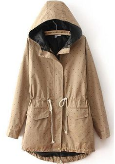 Hooded Polka Dot Drawstring Khaki Coat 28.00