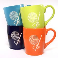 Crocheting and drinking coffee or tea is the perfect afternoon. This large, sturdy coffee mug comes in navy blue, celery green, or tangerine orange. Looking for Knitting mugs instead? Large ceramic co