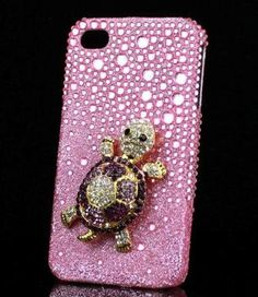Deluxe 3D Pink Turtle Crystal Diamond Bling Hard Case Cover For iPhone 4/4S | eBay