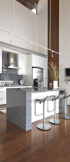 Grey and brown kitchen.
