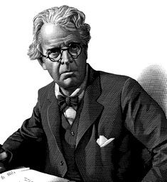 William Butler Yeats -  scratchboard by Mark Summers