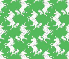 Unicorns in the Cosmos green fabric by colour_angel on Spoonflower - custom fabric