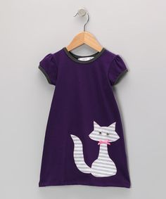 Take a look at this Purple & Gray Kitty Dress - Infant, Toddler & Girls by mini scraps on #zulily today!