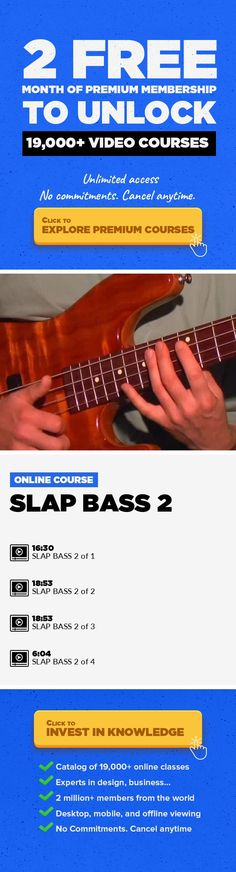 SLAP BASS 2 Music, Music Production, Creative, Guitar, Lessons, BASS, BASS LESSONS, Slap #onlinecourses #EducationCourses #skillstolearn   Level: Advanced Slapping 2 is a MUST for all Bass players. This video is loaded from beginning to end with slapping chops/ ghost notes/Triplets/Quadruplets/double finger popping. Eric also shows you how to get that (Marcus Miller Sound) and more... Slapping 2 i...