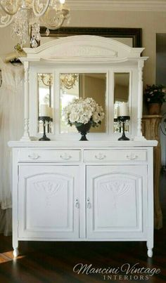 Romantic Early 1900's Antique Buffet Cabinet Mirrored Bar Sideboard Hutch Linen Cabinet Bathroom Hall Entry Dining Kitchen. ..Buyer SHIPS